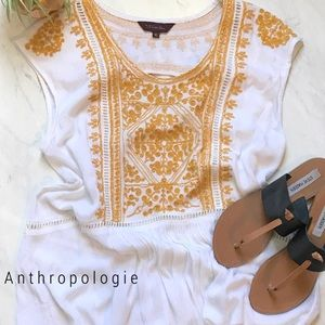Anthropologie embroidered tilestitich tunic top